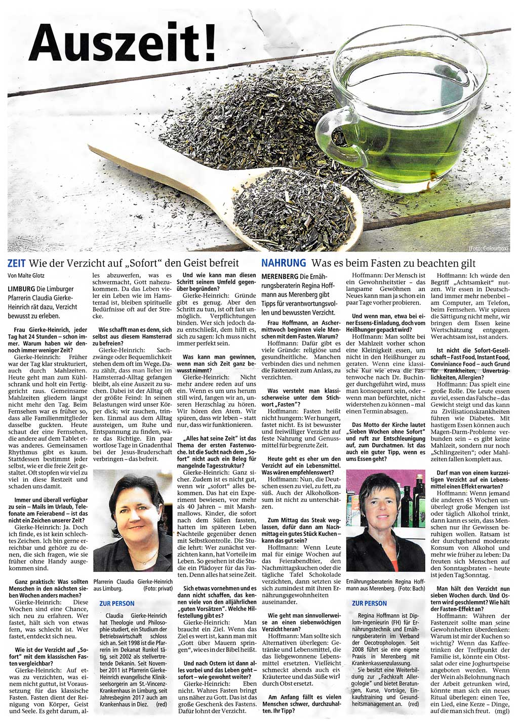 artikel-weilburger tageblatt Fasten Auszeit